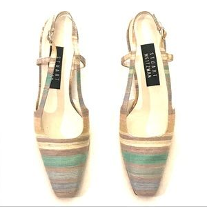 Vintage Silk Striped Stuart Weitzman Slingbacks